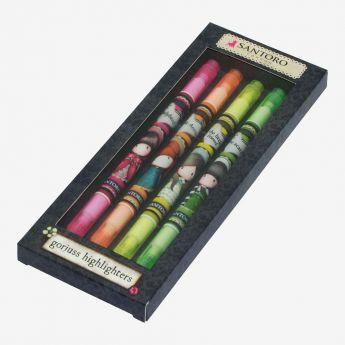 zestaw zakreślaczy - mix 4 kolorów - Santoro - kolekcja Gorjuss