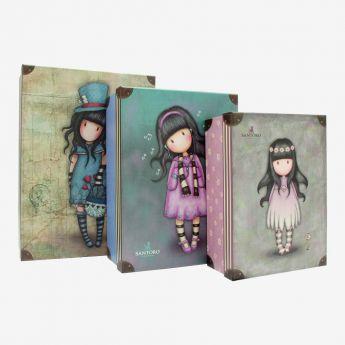 komplet 3 pudełek do przechowywynia - Santoro - kolekcja Gorjuss