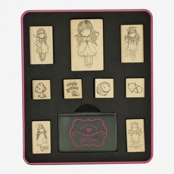 zestaw gumowych pieczątek - Santoro - kolekcja Gorjuss - Dziewczynka Biedronka