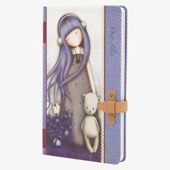 notatnik ze skórzanym zapięciem - Santoro - kolekcja Gorjuss - Dziewczynka z misiem