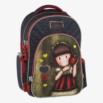 dwukomorowy plecak z trzema kieszeniami - Santoro - Gorjuss - Dziewczynka z jabłkiem