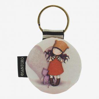 breloczek do kluczy - Santoro - kolekcja Gorjuss - dziewczynka z kotkiem
