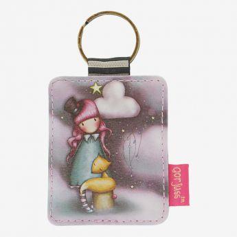 prostokątny breloczek do kluczy - Santoro - kolekcja Gorjuss - Dziewczynka z liskiem