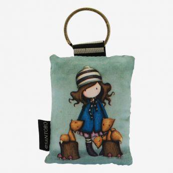 materiałowy breloczek do kluczy - Santoro - kolekcja Gorjuss - Dziewczynka z liskami
