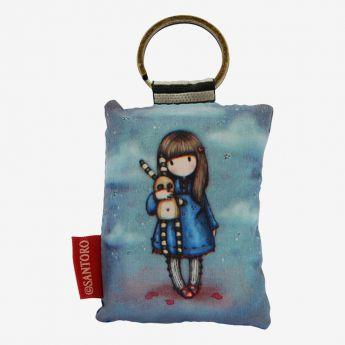 materiałowy breloczek do kluczy - Santoro - kolekcja Gorjuss - Dziewczynka z króliczkiem