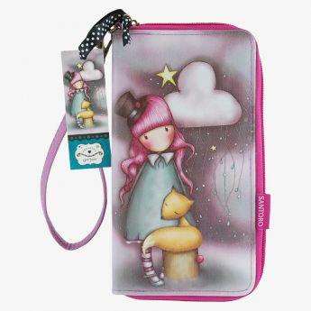 duży portfel z uchwytem na rękę - Santoro - kolekcja Gorjuss - Dziewczynka z liskiem
