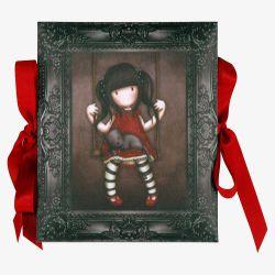 rozkładane ramki na zdjęcia ze wstążeczkami - Santoro - kolekcja Gorjuss - Dziewczynka z kotkiem