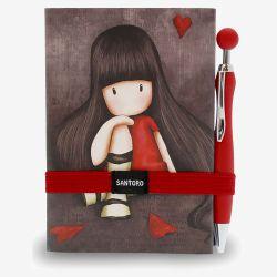 notatnik z długopisem - Santoro - kolekcja Gorjuss - Dziewczynka z serduszkami