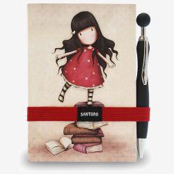 notatnik z długopisem - Santoro - kolekcja Gorjuss - Dziewczynka z książkami