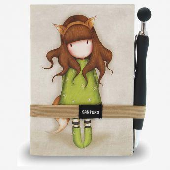 notatnik z długopisem - Santoro - kolekcja Gorjuss - Dziewczynka Lisek
