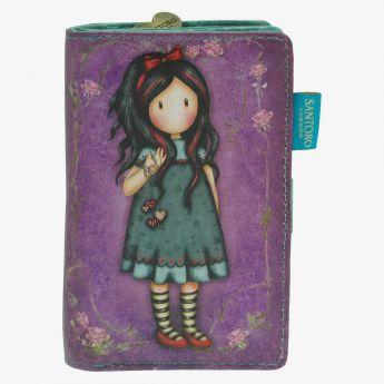duży portfel z przegródkami - Santoro - kolekcja Gorjuss - Dziewczynka z serduszkami na sznureczkach