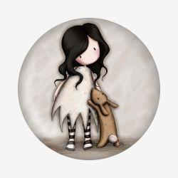 magnes - Santoro - kolekcja Gorjuss - Dziewczynka z króliczkiem