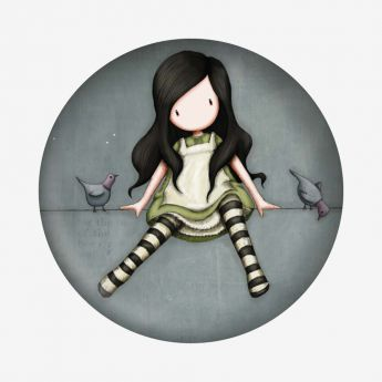 magnes - Santoro - kolekcja Gorjuss - Dziewczynka z gołąbkami