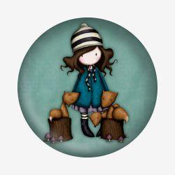 magnes - Santoro - kolekcja Gorjuss - Dziewczynka z liskami