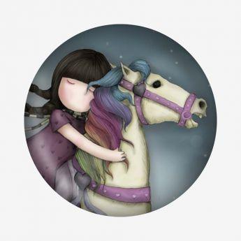 magnes - Santoro - kolekcja Gorjuss - Dziewczynka na koniu
