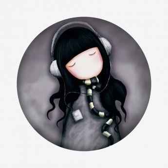 magnes - Santoro - kolekcja Gorjuss - Dziewczynka ze słuchawkami