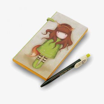 notes z długopisem - Santoro - kolekcja Gorjuss - Dziewczynka Lisek