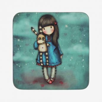 podkładka pod kubek - Santoro - Gorjuss - Dziewczynka z uciszonym króliczkiem