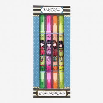 zestaw zakreślaczy - mix 4 kolorów - Santoro - Gorjuss