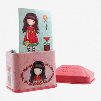 metalowe pudełko z naklejkami - Santoro - Gorjuss - arbuz