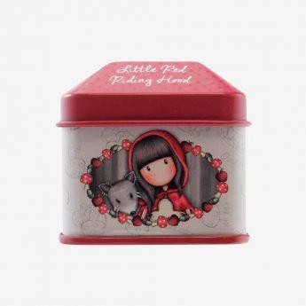 metalowe pudełko z naklejkami - Santoro - Gorjuss - Czerwony Kapturek