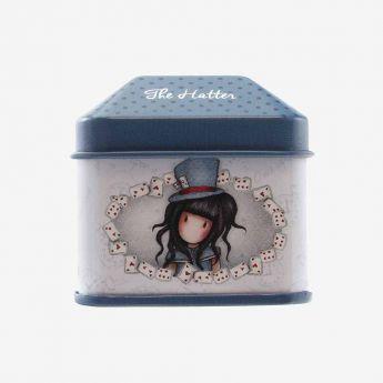 metalowe pudełko z naklejkami - Santoro - Gorjuss - Dziewczynka w kapeluszu