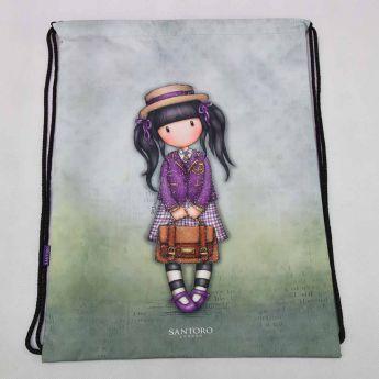 worek ściągany na sznurki - Santoro - Gorjuss - Dziewczynka z teczką