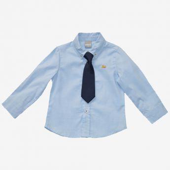 Birba - błękitna koszula z granatowym krawatem