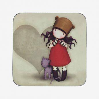 podkładka pod kubek - Santoro - Gorjuss - dziewczynka z kotkiem