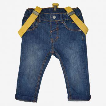 Birba - spodnie jeansowe z żółtymi szelkami