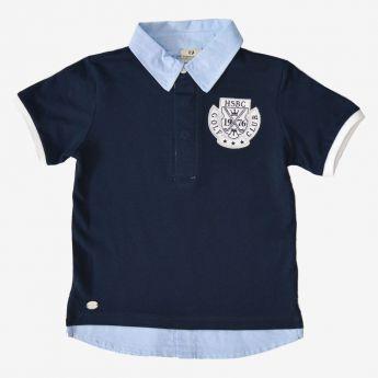Trybeyond - koszulka polo z imitacją koszuli - granatowa