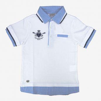 Birba - koszulka polo z imitacją koszuli - biała