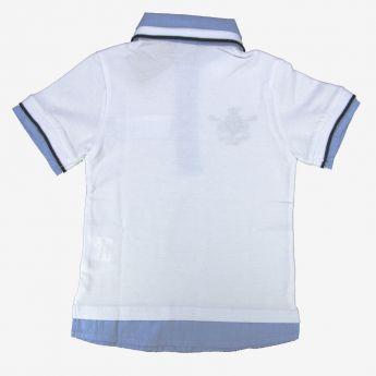 Birba, koszulka polo z imitacją koszuli, biała