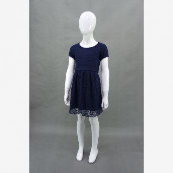 Trybeyond, haftowana sukienka z paskiem, granatowa